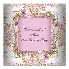 Pink White Damask Gold Flowers Birthday Party Custom Announcement