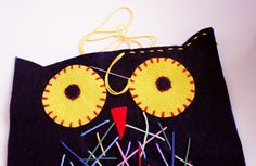 felt owl for kid sewing project, by Mamà recicla: Mussol de feltre / Búho de fieltro / Mocho de feltro