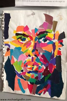 Michael Gadlin torn paper self-portrait made in his visual journal #collage #faces
