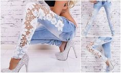 For leggings, to wear with a dress Lace Jeans, Denim And Lace, Redo Clothes, Custom Clothes, Fashion Casual, Womens Fashion, Convertible Clothing, Cut Tee Shirts, Jeans Refashion