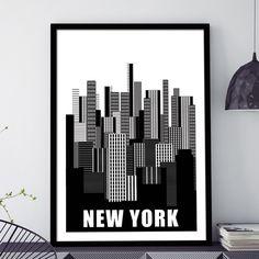 Tο αστικό τοπίο με τους ουρανοξύστες της Νέας Υόρκης σε αφαιρετική ασπρόμαυρη απόδοση σε poster. #cityposter #mapposter #NewYorkcityposter #τακτίριαστηΝέαΥόρκη #NewYorksskyscrapers