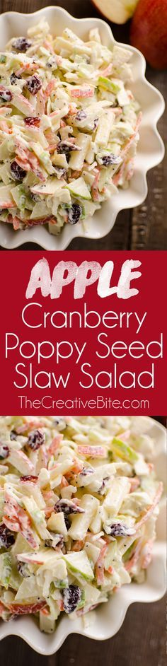 Apple Cranberry Poppy Seed Slaw Salad is a fresh and crunchy side dish bursting with healthy fall flavors. Sweet apples and dried cranberries are combined with savory cabbage, carrots and green onions and mixed in a tangy Greek yogurt poppy seed dressing