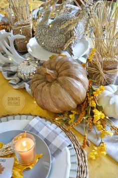 The tablescape I created for Thanksgiving this year was inspired by a recent ad by Pier 1 Imports (yes, again!) which included shades of o. Thanksgiving Table Settings, Thanksgiving Tablescapes, Small Pumpkins, White Pumpkins, Harvest Decorations, Seasonal Decor, Wheat Centerpieces, Square Glass Vase, White String Lights