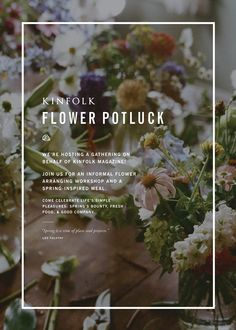 Mokkasin - flower potluck party - fun idea!