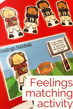 Kick off with the Feelings Football players! This matching activity is perfect for emotion identification in elementary school! Students read a statement inside the goal post, determine how the speaker is feeling, find the football with the correct emotion word, and then find the Feelings Football player with the appropriate facial expression! These are great for individual counseling, small group counseling, or centers in whole group classroom guidance lessons! #schoolcounseling