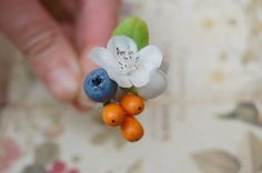 5 Blueberry Seabuckthorn Cherry Blossom Hair Pins by FloralStyle