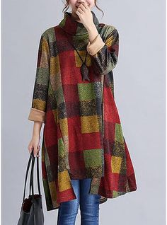 ed1f71e0f9ae Autumn Winter Clothes 2017 Fall Women Turtleneck Full Sleeve Plaid  Irregular Dress Female Tunic Vintage Dresses With Pockets