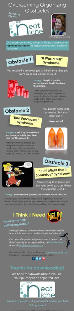 Infographic on overcoming #organizing obstacles - brought to you by theNeatNiche!