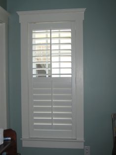 Plantation Shutters - the separation strip on middle allows you to close the bottom and keep top open. For Nora's bedroom