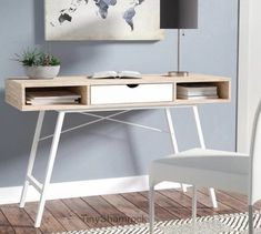 Small Writing Desk Student Console Mid Century Modern Laptop Table Storage New #StudentDesk #MedCenturyRetroModernStyle