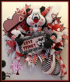 Your place to buy and sell all things handmade Valentine Day Wreaths, Valentine Decorations, Easter Wreaths, Valentine Crafts, Christmas Wreaths, Valentines, Christmas Ideas, Dog Wreath, Heart Wreath