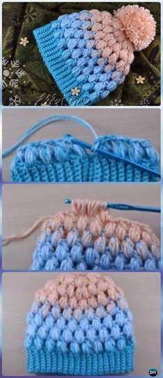 Horgolt Pom Pom Puff Stitch Beanie Hat Szabad Pattern - Horgolt Beanie Hat ingyenes minták