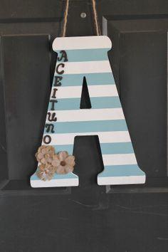 DIY Door Decoration - Striped Letter