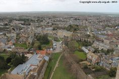 Looking towards St Mary's Church from The Great West Tower of Ely Cathedral.