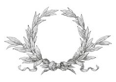 Ornate Laurel Wreath, maybe around her head. Kranz Tattoo, Wreath Tattoo, Decoupage, Vintage Wreath, Wreath Drawing, Laurel Leaves, Laurel Wreath, Wedding Stationery, Wedding Invitations