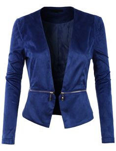 LE3NO Womens Fitted Suede Cropped Blazer Jacket with Detachable Hem