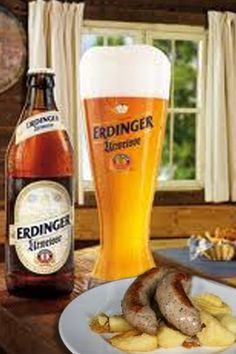 My favorite German food: Weisswurst with spicy mustard & Erdinger beer!