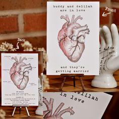 Anatomically Correct Heart Wedding Invite by 'Satin and Tat Wedding Stationery