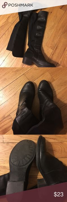 "Aldo Leather 50/50 Boots Used but still look great if you like the ""distressed"" look. Fair offers accepted. Bundle and save! Aldo Shoes Over the Knee Boots"
