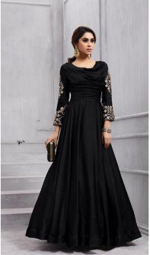 04458e789a0 Black Color Taffeta Silk Party Wear Readymade Gown | BE-NVO6-153 #heenastyle  #gown #readymade #silk #beige #partywear #womenswear #indiangown #eid2018 #  ...