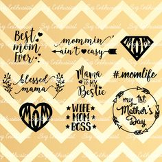 Mom Bundle SVG, Mother's day SVG cut files, Mom Svg files, Mother svg, Cricut, Dxf, PNG, Vinyl, Eps, Cut Files, Clip Art, Vector, Silhouette by SVGEnthusiast on Etsy