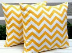 yellow throw pillows for sofa | Yellow chevron couch/ throw pillows