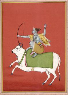 Shiva the Archer on Nandi Watercolor on Paper, Artist: Kailash RajHridaya - Heart of Tantras : Photo