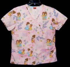 Silver Stone Small Scrub Top Precious Moments Print on Pink Girls Flowers Hearts   eBay