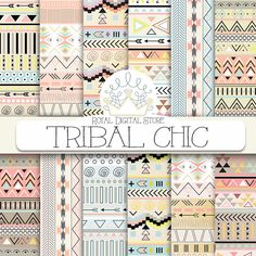 "Tribal digital paper: ""TRIBAL CHIC"" with tribal, aztec pattern, backgrounds in brown, yellow, mint, soft pink for scrapbooking, invitations #tribal #planner #colorful #yellow #digitalpaper #scrapbookpaper"