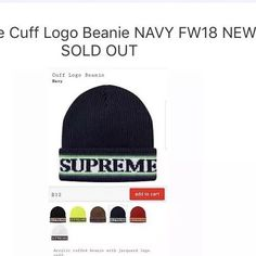 78c6fc4696b40 Supreme Cuff Logo Beanie NAVY FW18 NEW SOLD OUT  fashion  clothing  shoes   accessories  mensaccessories  hats (ebay link)
