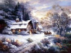 Painted by James Lee, the Snowy Evening Outing wall mural from Murals Your Way will add a distinctive touch to any room. Christmas Scenes, Christmas Art, Vintage Christmas, James Lee, Murals Your Way, Framed Artwork, Wall Art, Creation Photo, Winter Painting