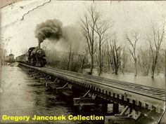 Freight train near Thayer IN. Before swamps were drained