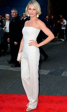 Cameron Diaz wears this classic white Stella McCartney jumpsuit with such sophistication...