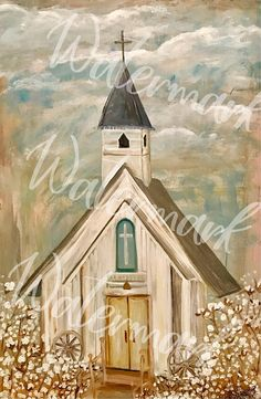 CHURCH PAINTING LARGE farmhouse decor Faith painting Cotton