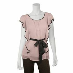 IZ Byer California Contrast Flutter Top - Juniors (Pink or White), Small, $28.99