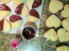 chocolate dipped shortbread heart cookies