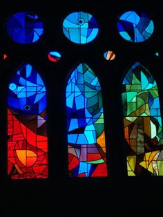 Barcelona, Sagrada Familia Cathedral stained glass faboulus works