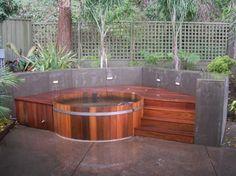 Natural cedar hot tub