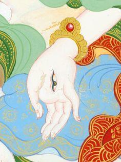 White Tara detail - White is an emanation of Tara who is connected with longevity, health, and strength. Tibetan Art, Tibetan Buddhism, Buddhist Art, Tibetan Tattoo, Painting Inspiration, Art Inspo, Tantra Art, Mahayana Buddhism, Thangka Painting