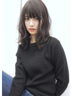 ☆blues style 50 くびれミディゆるふわカール・ダークモカ