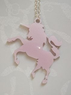 Oh Unicorn Pink Opal Laser Cut Necklace. £6.50, via Etsy.    unicorns, rainbow, kawaii, beads, mixed, cute, fun, handmade, kitsch, wedding, fashion, accessories, hipster, lolita, alt, punk, rock n roll, unique, one of a kind