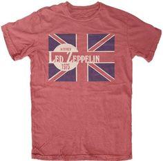 Led Zeppelin An Evening With Led Zeppelin 1975 Men's Red Vintage Concert T-shirt