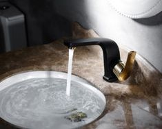Bathroom Basin Faucet Vessel Sink Faucet Black Paint Golden Finish Brass Hot And Cold Water Tap Mixer Single Handle Torneira