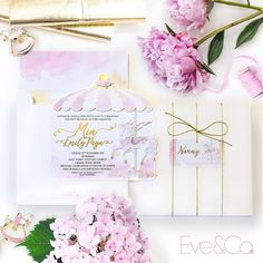 Completely in love 💕 with these pastel carousel themed first birthday and christening invitations. Four layers of custom cut elements and gold foil accents