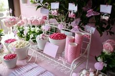 a butterfly garden party, all pink & white & sweet.  and includes a cotton candy cart!