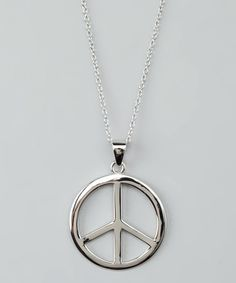 Take a look at this Sterling Silver Peace Sign Pendant Necklace by Vir Jewels on #zulily today!