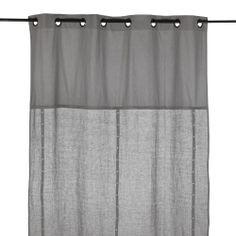Rideau à œillets en lin et coton couleur gris Gris - Plumetis - Les rideaux - Textiles et tapis - Salon et salle à manger - Décoration d'intérieur - Alinéa