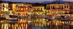 The old, Venetian harbor of Rethymno, Crete, Greece