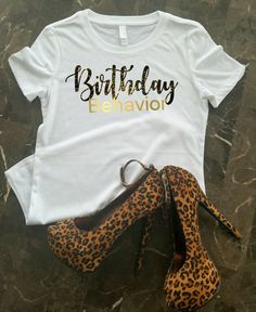 It's your birthday! Celebrate & let the world know with this with this gorgeous t-shirt. Birthday is created in Black/Gold Sparkle (Glitter)…