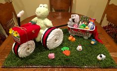 Tractor diaper cake for farm-themed baby shower                                                                                                                                                                                 More
